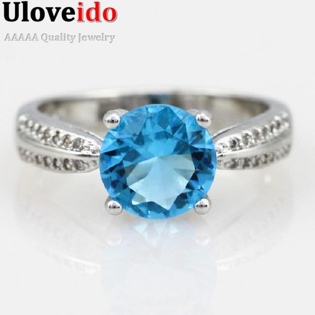 Ben noto Uloveido Anello per le Donne di Fidanzamento Anello con Pietre Blu  FA44