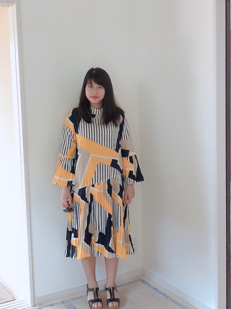 Spring Autumn Stand Collar Long Flare Sleeve Pattern Striped Printed Pleated Loose Dress Women Fashion Tide photo review