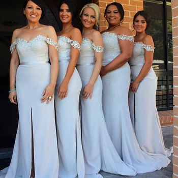 Light Blue Mermaid Bridesmaid Dress Off the Shoulder Lace Appliques High Slit Formal Women Long Gowns For Wedding Party