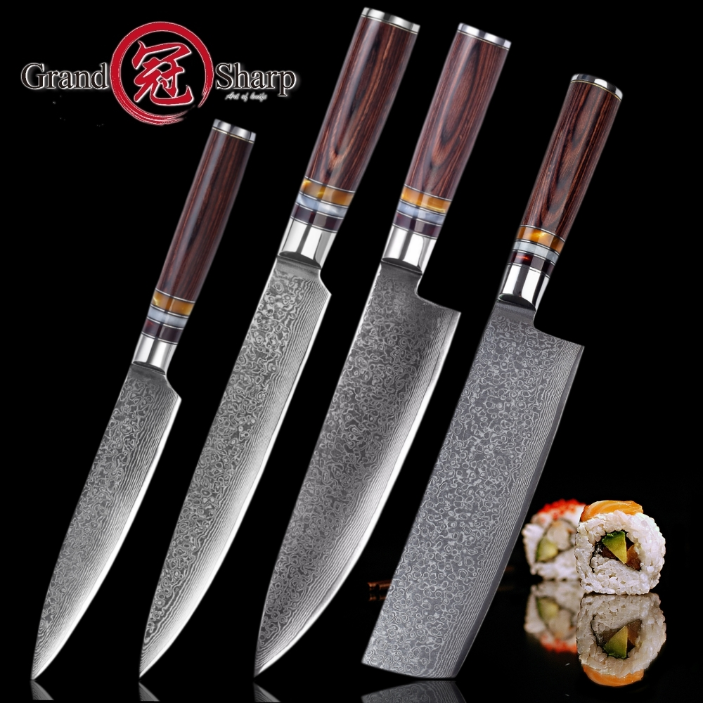 GRANDSHARP NEW 2018 Knife Set 4 Pcs Chef Slicing Nakiri Utility Paring Japanese Damascus vg10 Steel