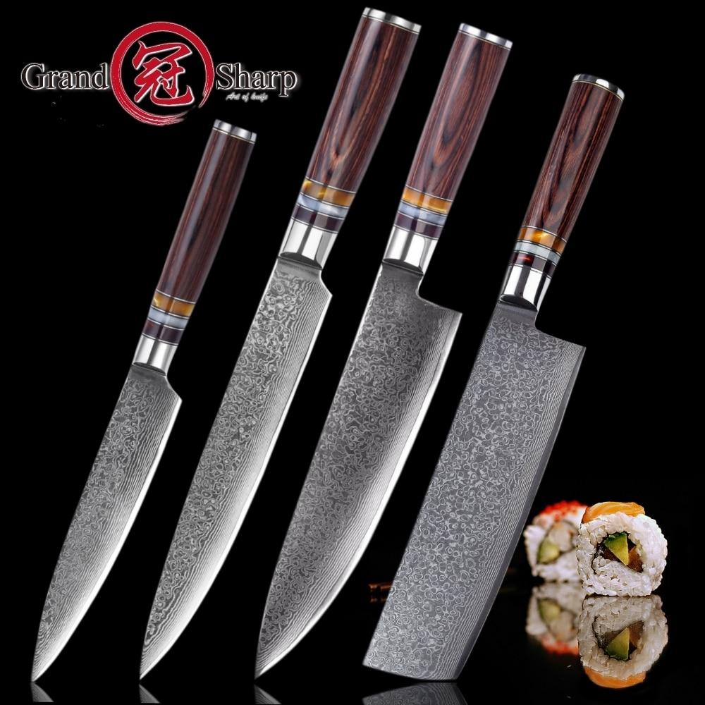 Grandsharp new 2018 나이프 세트 4 pcs chef slicing nakiri utility paring 일본 다마스커스 vg10 스틸 주방 나이프 최고의 선물-에서칼 세트부터 홈 & 가든 의  그룹 1