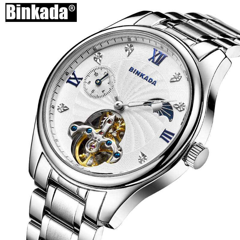 Mens Business Casual Watches Self Wind Men Watch Skeleton Toubillon Watches BINKADA New Men's Mechanical Watches