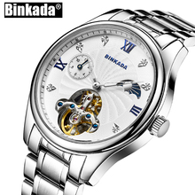 Mens Business Casual Watches Self Wind Men Watch Skeleton Toubillon Watches BINKADA New Men's Mechanical Watches(China)