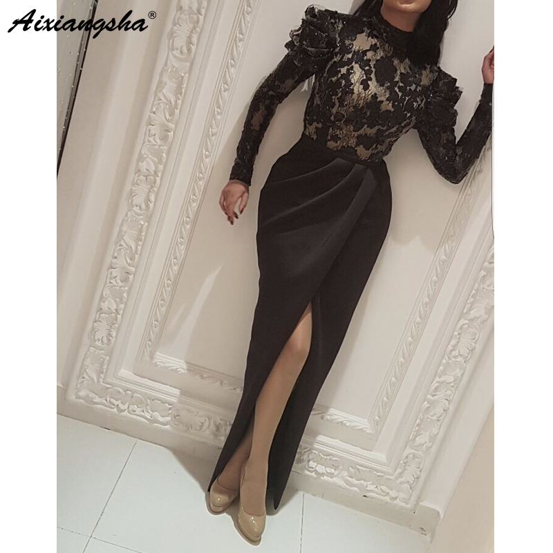 Black Muslim   Evening     Dresses   2019 Mermaid High Neck Long Sleeves Lace Slit Islamic Dubai Kaftan Saudi Arabic Long   Evening   Gown