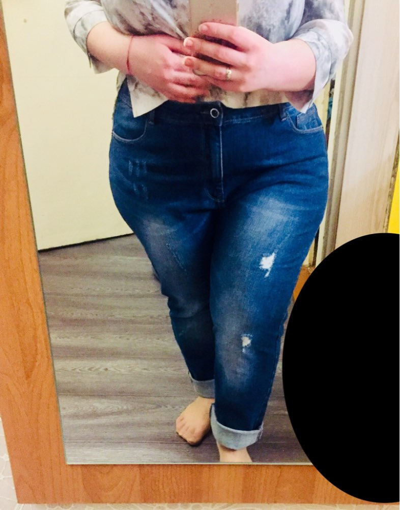 Spring Plus Size Ripped Bleach Moustache Mid Waist Full Length Casual Stretch Denim Straight Jeans For Women photo review