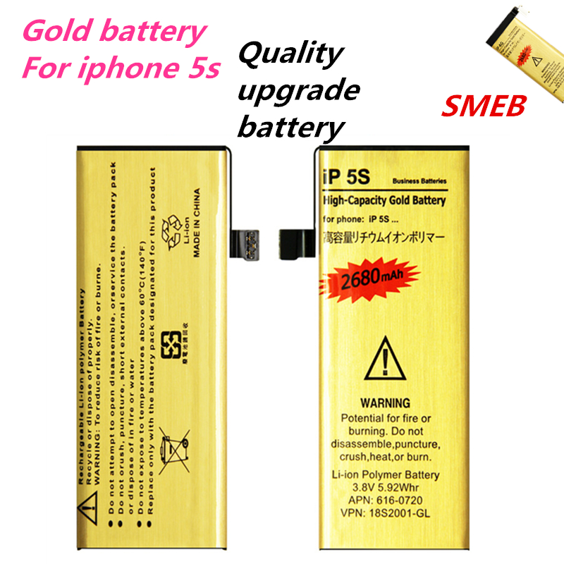 New Good Quality Golden bateria ip5s Mobile Phone Battery for Apple iPhone 5S iphone5S 5C Battery 2017 New gold battery 2680mAh ...