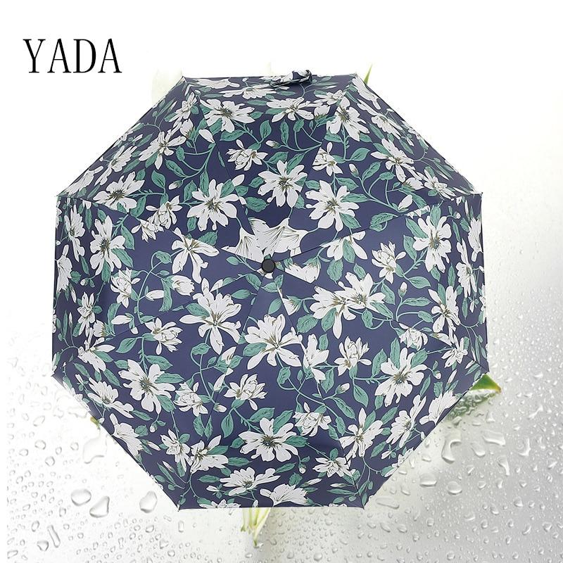 YADA New light Elegant Lily Umbrella Anti Ultraviolet Black Glue Folding Sun Proof mbrella DB029