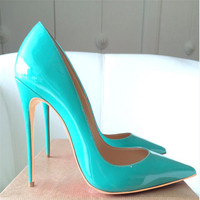 Free shipping fashion women Pumps mint patent leather sexy lady Pointy toe high heels shoes size33 43 12cm 10cm 8cm party shoes