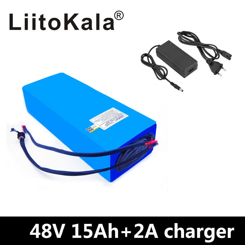 LiitoKala 48V 15AH battery pack 48V 15AH 1000W Electric bicycle battery 48V Lithium ion battery 30A BMS and 2A Charger