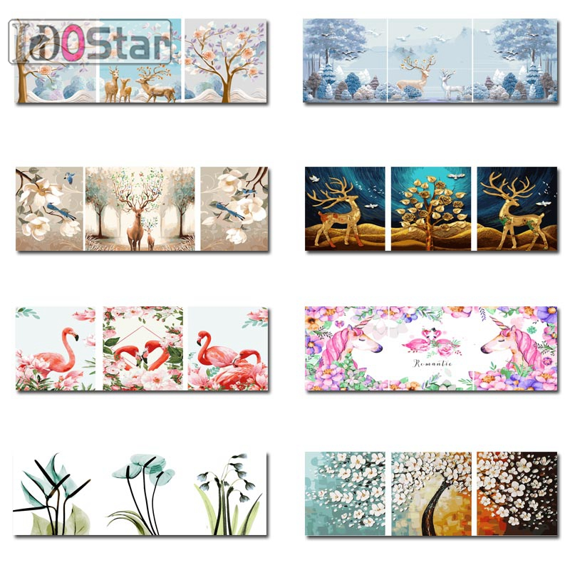 3Pcs/Set Painting By Numbers Canvas Household Decoration NEW Gift DIY Art Paint By Numbers Acrylic Paint For Home Dector