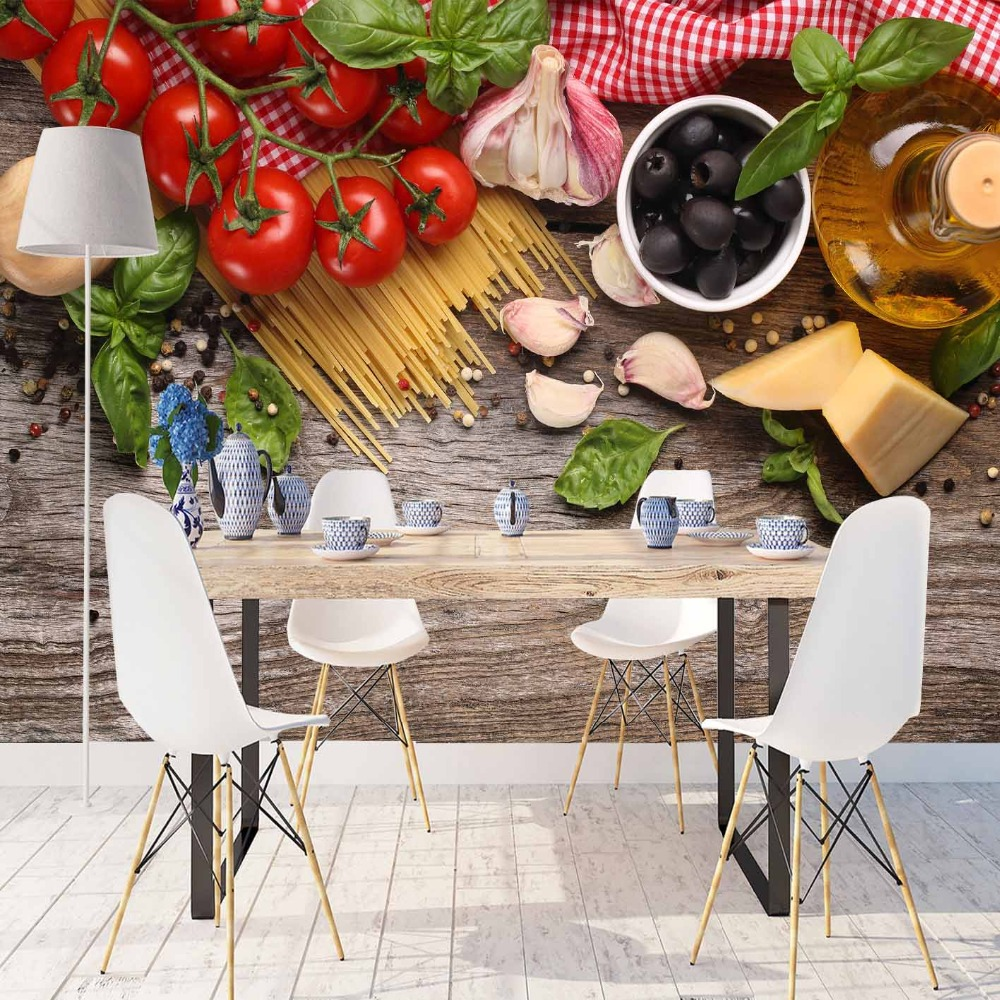 Else Red Tomato Olives Breakfast Table Macaroni 3d Print Photo Cleanable Fabric Mural Home Decor Kitchen Background Wallpaper
