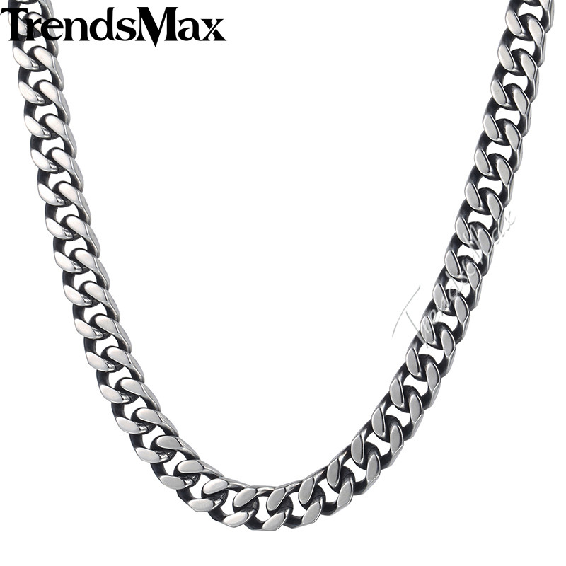 Trendsmax Curb Link Necklace Chain Mens Boys Stainless Steel Cut Cuban Silver Tone 8/10/12mm KKNM142