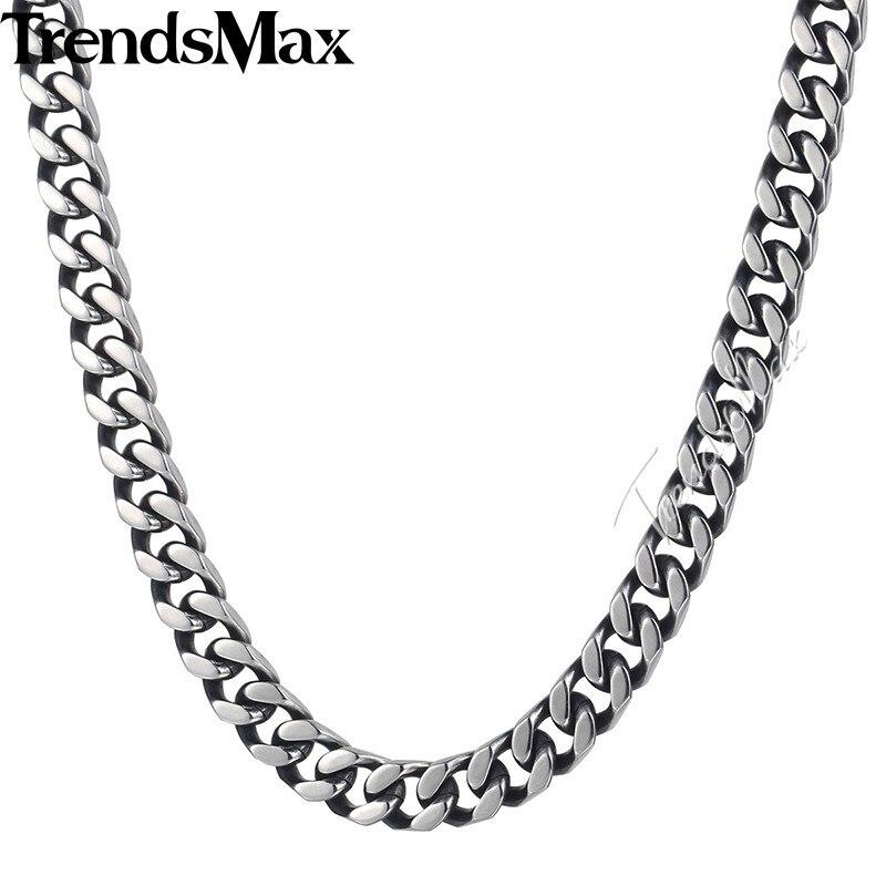daff37e0d8ae Cheap Trendsmax acera enlace cadena collar hombres chicos de corte de acero  inoxidable cubano tono plata