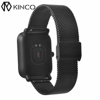 KINCO 20mm Replacement Black Stainless Steel Mesh IP Plating Wrist Bands Wristband Watch Strap For XIAOMI
