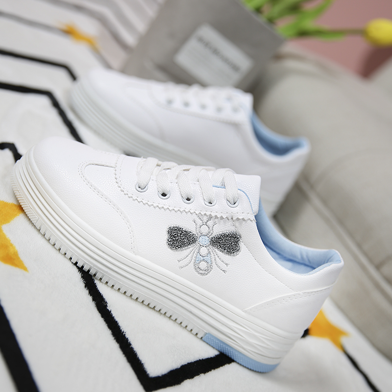 White female Platform sneakers 2018 summer new canvas casual flat shoes fashion increased women shoes PU leather Zapatos de muje