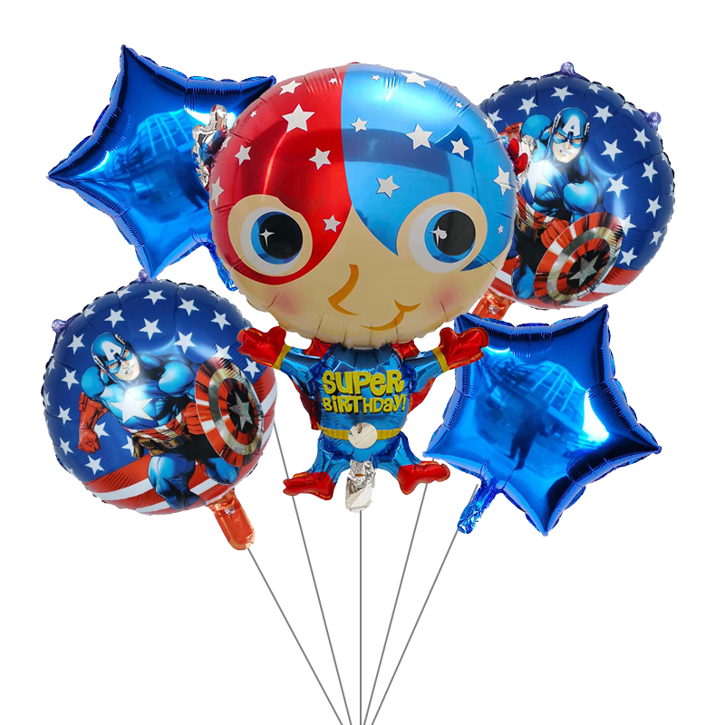 Image 5 - 5pcs Superhero Spiderman Avengers Batman America Foil Balloons Birthday Party Supplies Superman Air balloon Children's Day Toys-in Ballons & Accessories from Home & Garden
