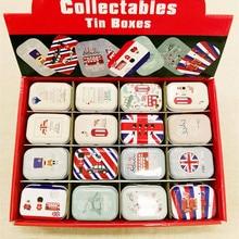 цена на 32pcs/box Cartoon Grand British print Tin Box Metal Coin Saver Small Jewerly Case Pill case 16 designs Chocolate Box