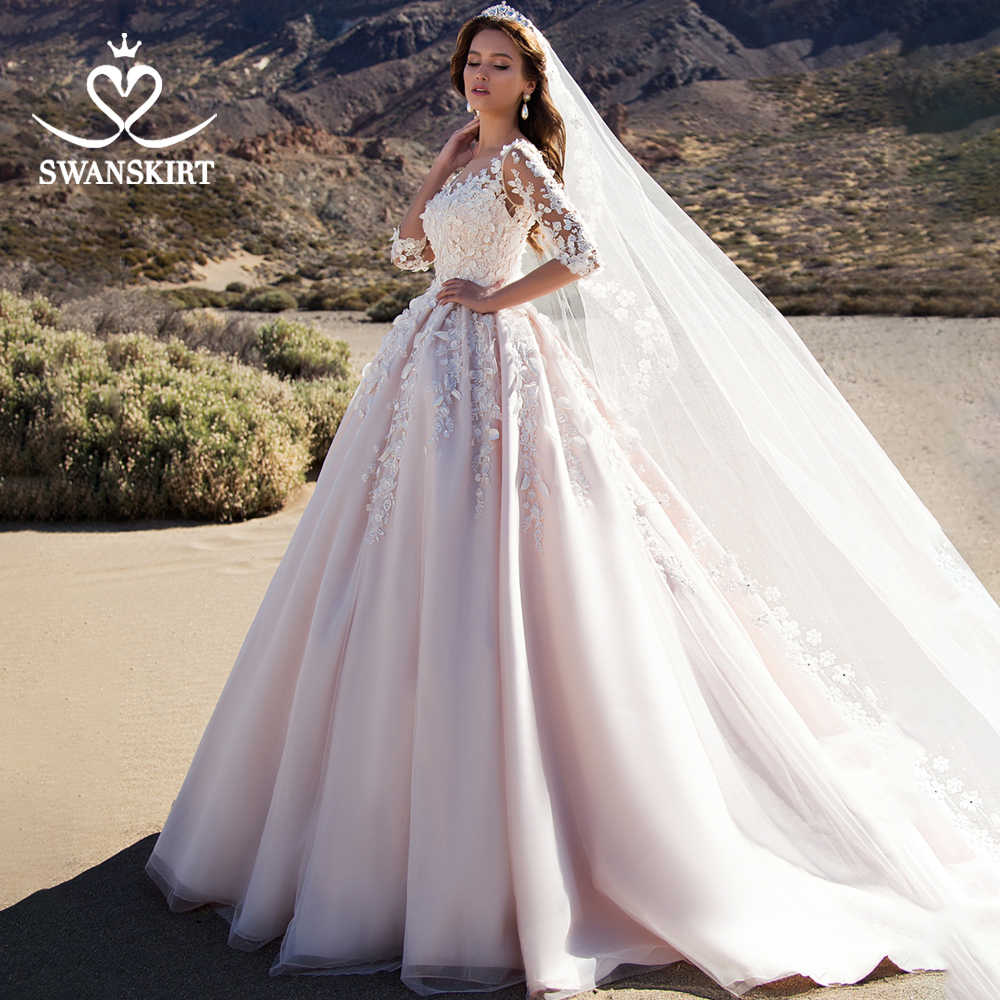 Swanskirt Sweetheart Appliques Wedding Dress 2019 3D Flower  Ball Gown Court Train Princess Bridal Gown Vestido De Noiva K192
