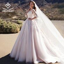 Swanskirt Sweetheart appiques 웨딩 드레스 빈티지 3D 꽃 공 가운 법원 기차 공주 신부 가운 Vestido De Noiva K192