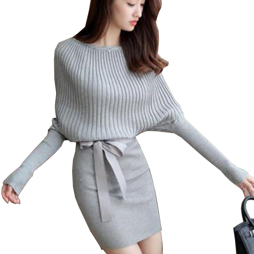 Women Sweater Batwing Sleeve Bodycon  Elastic Dress Brief Knitted Vestidos With Belt Slim Solid Dress lip print batwing sleeve sweater
