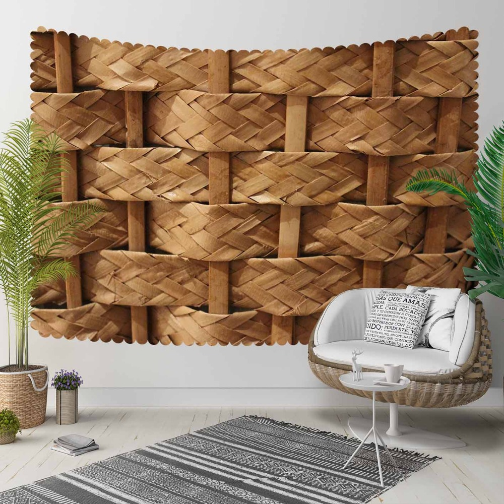 Else Brown Wicker Bamboo Knitting Floral Nature 3D Print Decorative Hippi Bohemian Wall Hanging Landscape Tapestry Wall Art