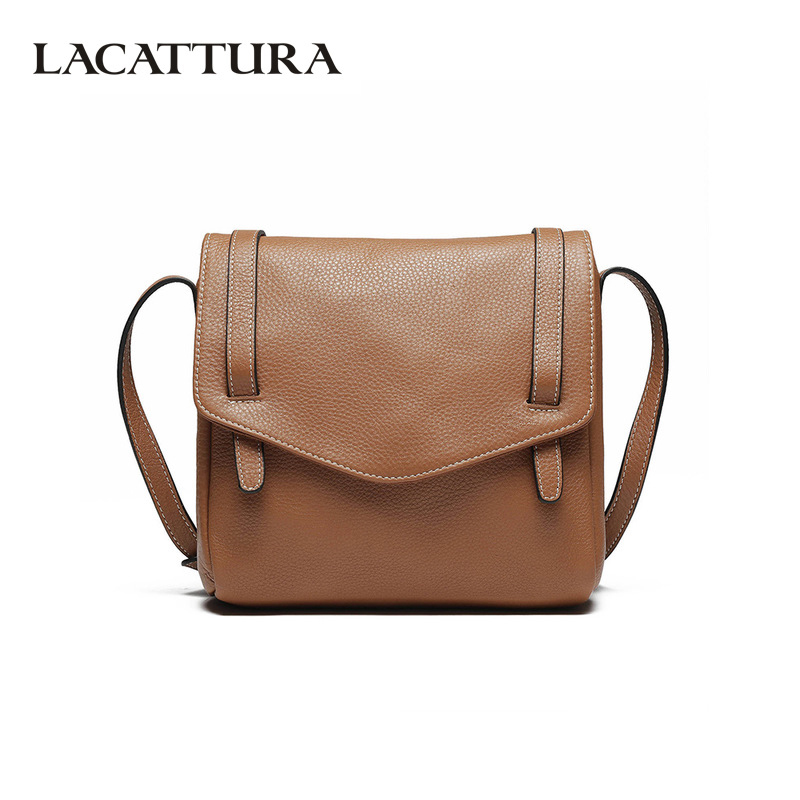 LACATTURA Cow Leather Women Shoulder Bag Luxury Fashion Womens Messenger Bags High Quality Simple Retro Crossbody Bag for Ladies casual shoulder crossbody bags for women 2018 pu leather shoulder bag black gray red fashion simple womens bag high quality