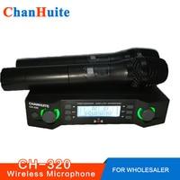 UHF Kablosuz Mikrofon Sistemi Aile Karaoke Mikrofon Çeşitli Frekansları Profesyonel Sahne Gösterisi Çift Akülü El Mic