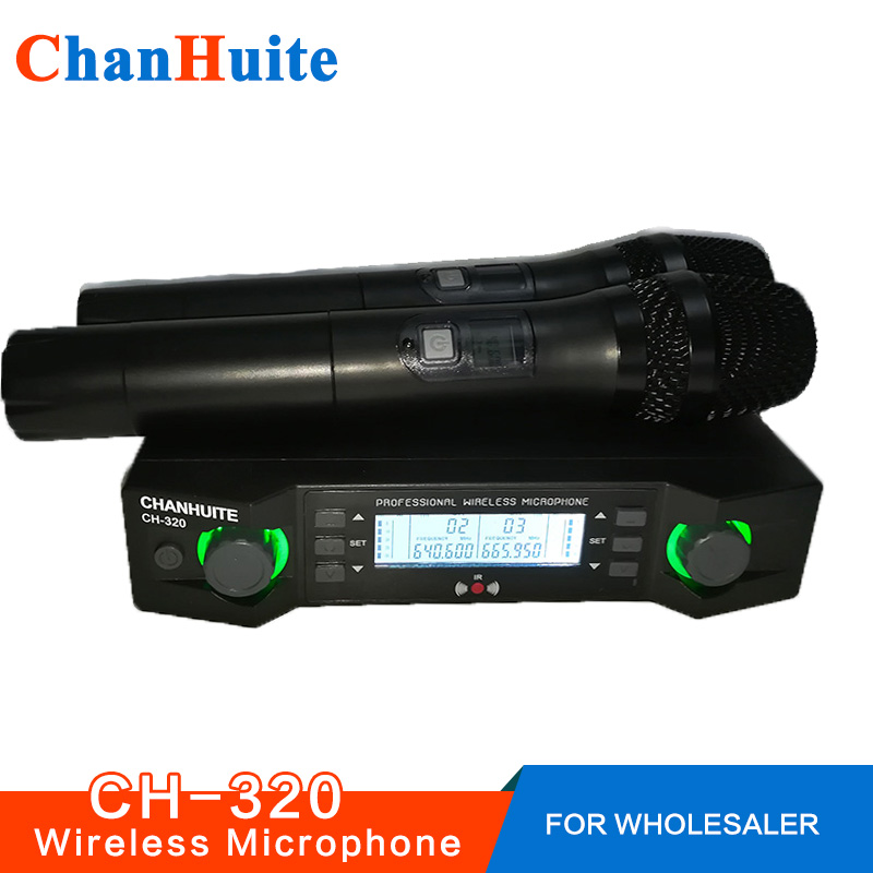 UHF Wireless Microphone System Family Karaoke Microphone Various Frequencies Professional Stage Show Dual Cordless Handheld Mic boya by whm8 professional 48 uhf microphone dual channels wireless handheld mic system lcd display for karaoke party liveshow