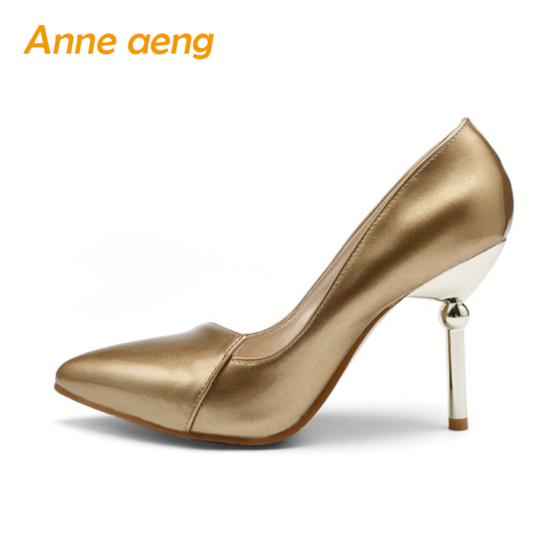 Women Shoes High Thin Heel Sexy Office Ladies' Pumps Silver Golden Elegant Spring Summer Pointed Toe Classic Big Size Lady Shoes sgesvier 2017 spring summer women pumps sweet high heeled shoes thin high heel shoes hollow pointed stiletto elegant tr007