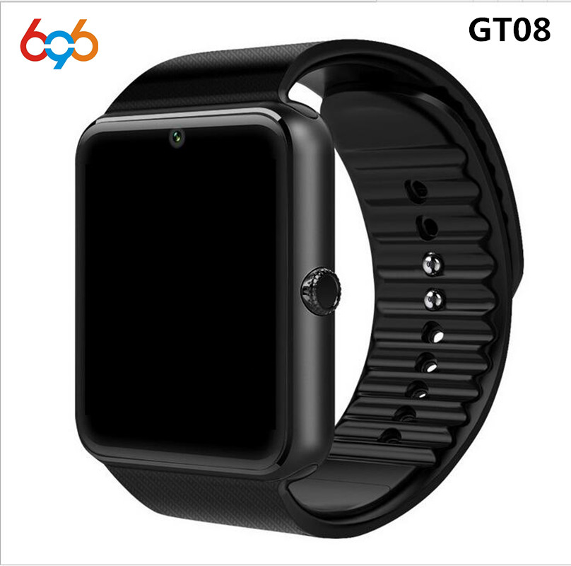 696 Smart Watch GT08 Clock Sync Notifier Support Sim TF Card Bluetooth Connectivity Android Phone Smartwatch Alloy Smartwatch lemfo a10 smart watch phone support sim card bluetooth sync notifier clock wearable devices for apple ios android smartwatch