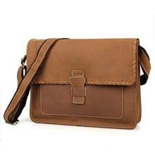 Mens Shoulder Bags Large Casual Business Envelope Vintage Crazy Horse Leather Male 14 Laptop Messenger Crossbody