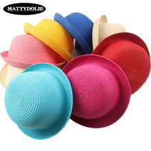 MATTYDOLIE Wholesale straw hat girl boy summer hat dome beach children panama hat pure color men and women general sun hat(China)