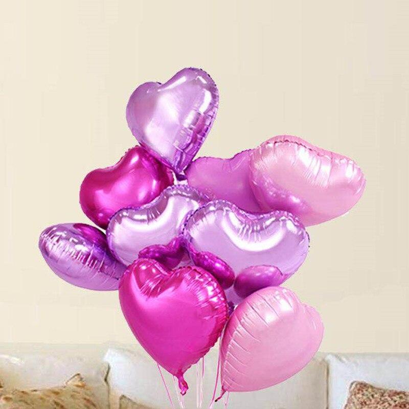 10 шт. 18-дюймовые романтические жемчужные розовые фольгированные гелиевые шары в форме сердца для дня рождения, свадьбы, Дня Святого Валенти...