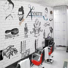 Hand-painted trend barber shop background wall custom large wallpaper mural 3D photo wall factory wholesale(China)