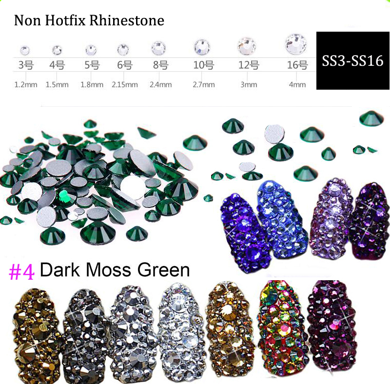 (Dark green) 1440pcs Non-hotfix Crystal Flat Back Nail Art Rhinestones Glass Face Gems SS3-SS16 flat back nail rhinestones