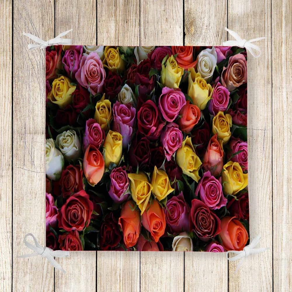 Else Colored Roses Flowers Floral 3d Print Square Chair Pad Seat Cushion Soft Memory Foam Full Lenght Ties Non Slip Washable