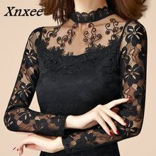 new sexy fashion women high quality lace long Sleeve Turtleneck Blouses female spring autumn pullover black white tops Xnxee