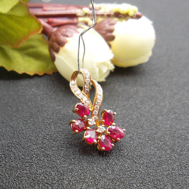 18K ROSE Gold natural Natural Ruby Pendants fine Jewelry Customizable Ethnic Pendants