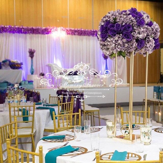 Decorative Wedding Columns Pillars Metal Gold Wedding Flower Stands