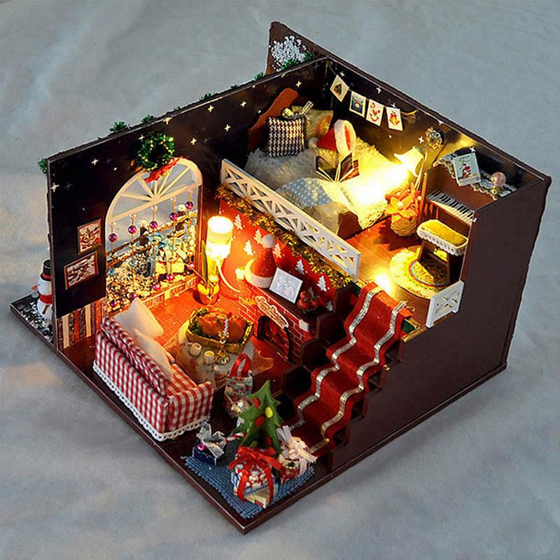 Miniature Christmas Carnival Night Dollhouse DIY Wooden
