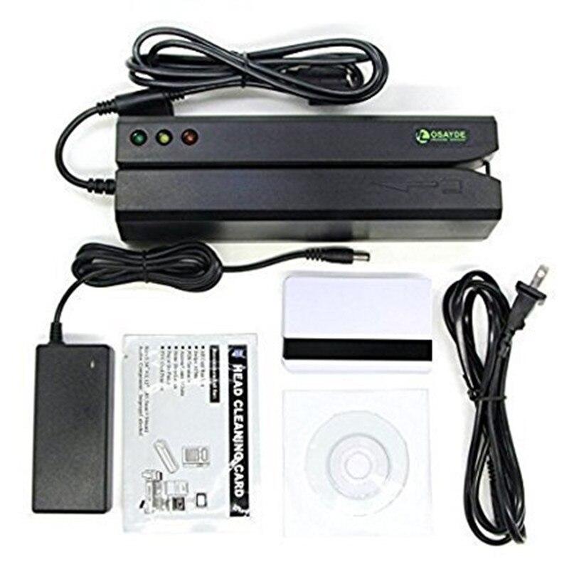 OSAYDE MSR605 מגנטי כרטיס קורא, 3 מסלולי מקודד סופר סורק, משלוח תוכנה להתקנה, בקלות להשתמש להחליף MSR206, MSR606