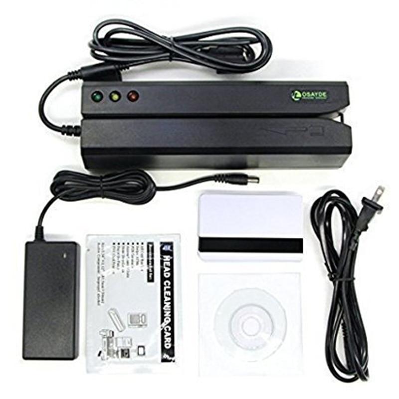 OSAYDE MSR605 Lettore di Carte Magnetiche, 3 Tracce Writer Encoder Scanner, il Software Libero per Installare, usare facilmente Sostituire MSR206, MSR606