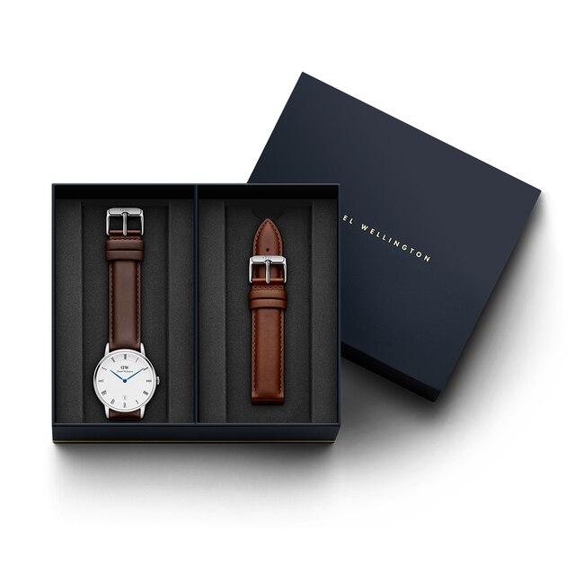 Наручные часы Daniel Wellington Dapper Bristol 38 мм S White + часовой ремешок Daniel Wellington Dapper St Mawes для часов 38 мм S
