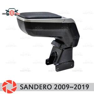 Подлокотник для Renault Sandero 2009 ~ 2019, подлокотник для автомобиля, центральный пульт, кожаный ящик для хранения, пепельница, аксессуары, Стайлинг ...