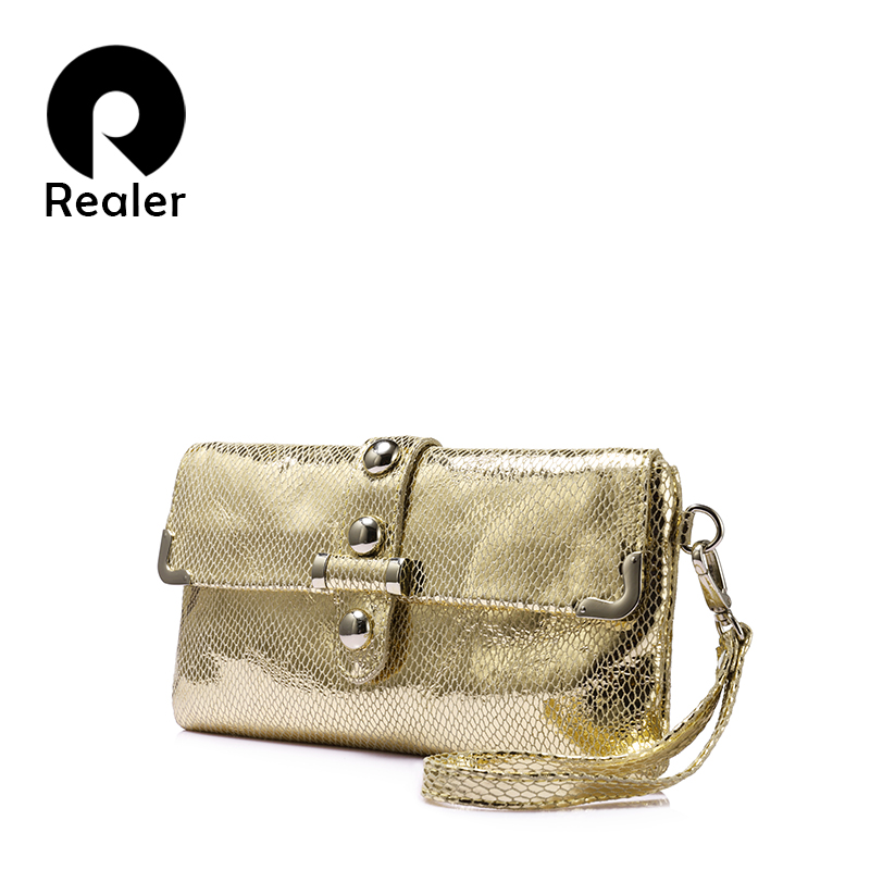 REALER fashion women genuine leather day clutch high quality evening bag female crossbody bags serpentine print 2017 yuanyu 2018 new hot free shipping real python leather women clutch women hand caught bag women bag long snake women day clutches