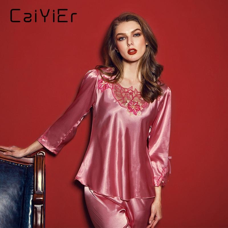 b9510bffb5 2018 Caiyier Silk Pajamas Sets Women Summer Solid 2018 New Elegant Nightwear  Sets Pink Purple Sleepwear Pajamas Sets LSB7851