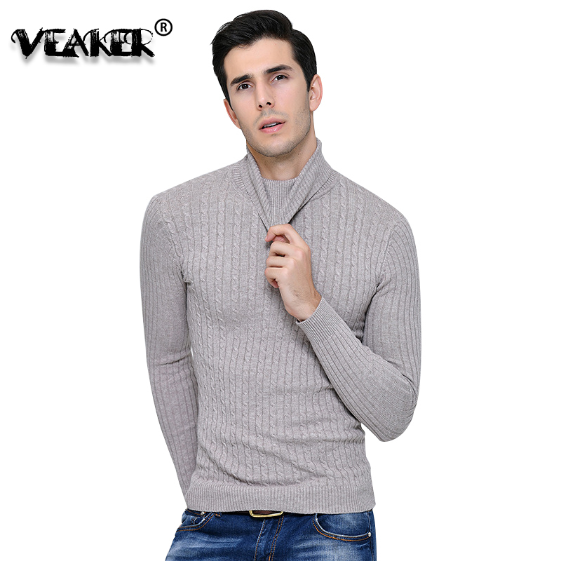 Pullover Turtleneck Sweaters Slim-Fit Knitted Wool Male Men Autumn Winter Solid Jacquard
