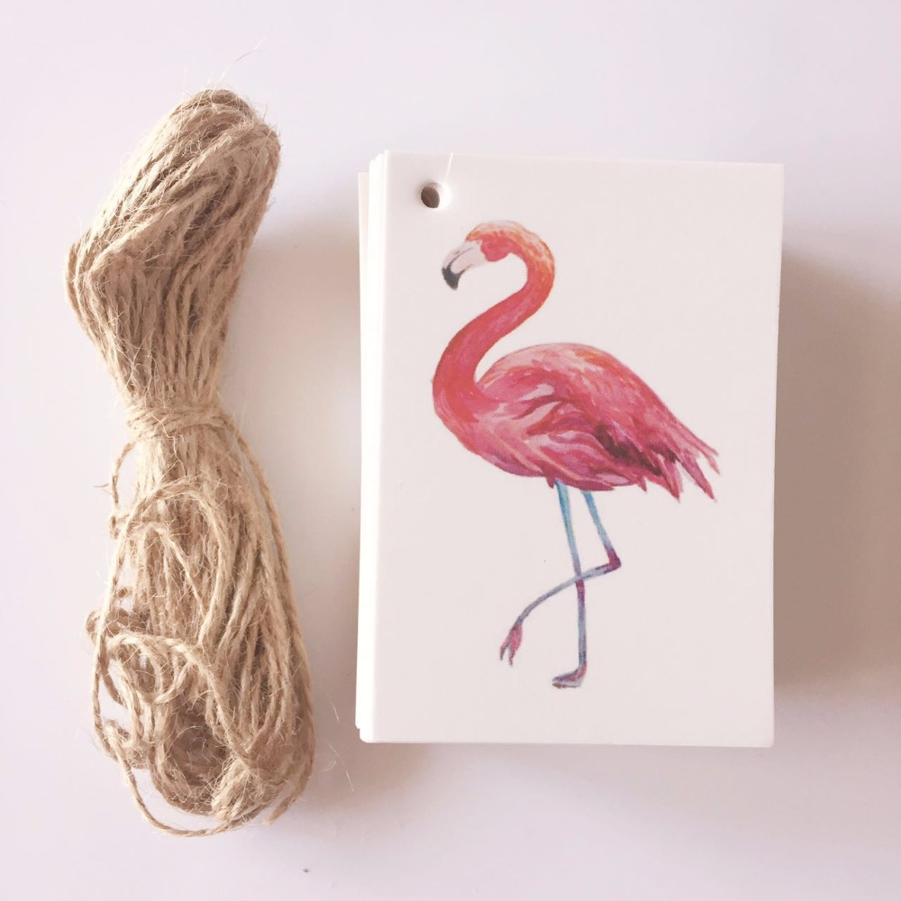50pcs DIY Flamingo Bird Paper Gift Tags Labels Hanging Cards Christmas Birthday Wedding Party Decoration Accessory for home
