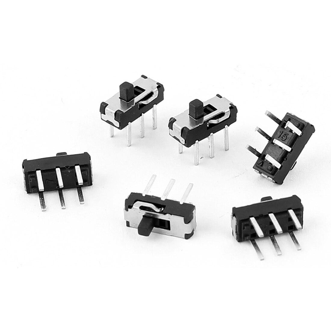 uxcell 5 Pcs On//Off//On 3 Position DPDT 2P3T PCB Panel Slide Switch 6A//125V 3A//250V AC