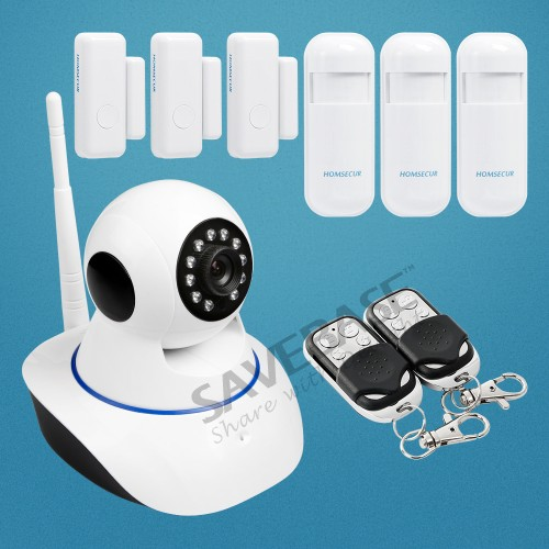 HOMSECUR Wireless Monitoring Alarm System for Home/Office Security+IOS/Android APP(PIR Door Sensor IP Camera etc )